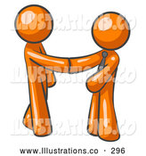 Royalty Free Stock Illustration of a Pair of Orange Office Workers Shaking Hands, Business Deal by Leo Blanchette