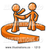Royalty Free Stock Illustration of a Pair of Orange People Shaking Hands While Making a Business Deal by Leo Blanchette