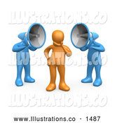 November 13th, 2013: Royalty Free Stock Illustration of a Pair of Two Blue Megaphone Headed People Shouting at an Orange Person, Trying to Influence His Beliefs by 3poD