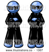 Royalty Free Stock Illustration of a Pair of Two Blue Men Standing with Their Arms Crossed, Wearing Sunglasses and Black Suits by Leo Blanchette