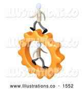 Royalty Free Stock Illustration of a Pair of Two Business Men Running on a Cog Gear, One in the Center, One on Top, Symbolizing Colleagues or Opposition by 3poD