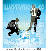 Royalty Free Stock Illustration of a Pair of Two Businessmen Completing a Blue Jigsaw Puzzle Together by AtStockIllustration