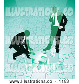 Royalty Free Stock Illustration of a Pair of Two Businessmen Completing a Green Jigsaw Puzzle Together by AtStockIllustration