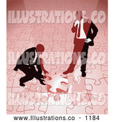 Royalty Free Stock Illustration of a Pair of Two Businessmen Completing a Red Jigsaw Puzzle Together by AtStockIllustration