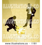 Royalty Free Stock Illustration of a Pair of Two Businessmen Completing a Yellow Jigsaw Puzzle Together by AtStockIllustration