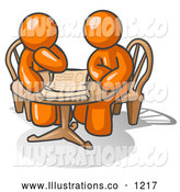 Royalty Free Stock Illustration of a Pair of Two Businessmen Sitting at a Table, Discussing Papers by Leo Blanchette