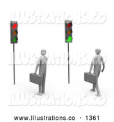 Royalty Free Stock Illustration of a Pair of Two Businessmen Waiting at a Traffic Light, One Turned Green, One Red by 3poD