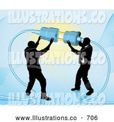 Royalty Free Stock Illustration of a Pair of Two Businessmen Working Together to Connect a Plug and Socket over Blue by AtStockIllustration