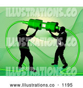 Royalty Free Stock Illustration of a Pair of Two Businessmen Working Together to Connect a Plug and Socket over Green by AtStockIllustration