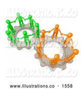 Royalty Free Stock Illustration of a Pair of Two Gears Working Togther with Orange and Green People Holding Hands and Standing on Top of Them by 3poD