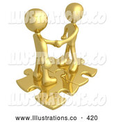 Royalty Free Stock Illustration of a Pair of Two Gold People Shaking Hands While Standing on Connected Gold Puzzle Pieces, Symbolizing Teamwork, Deals, and Link Exchanges by 3poD
