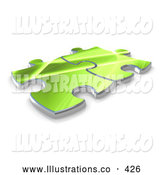 November 7th, 2013: Royalty Free Stock Illustration of a Pair of Two Green Puzzle Pieces Connected by 3poD