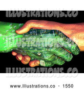 Royalty Free Stock Illustration of a Pair of Two Mechanical Circuit Robot Hands, One Tan, One Green, Shaking Hands by Tonis Pan