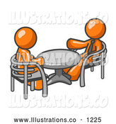 Royalty Free Stock Illustration of a Pair of Two Orange Business Men Sitting Across from Eachother at a Table During a Meeting by Leo Blanchette
