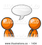 Royalty Free Stock Illustration of a Pair of Two Orange Businessmen Having a Conversation with a Text Bubble by Leo Blanchette
