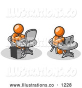 Royalty Free Stock Illustration of a Pair of Two Orange Men, Employees, Working on Computers in an Office, One Using a Desktop, the Other Using a Laptop by Leo Blanchette