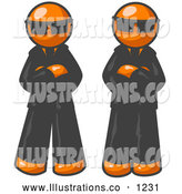 Royalty Free Stock Illustration of a Pair of Two Orange Men Standing with Their Arms Crossed, Wearing Sunglasses and Black Suits by Leo Blanchette
