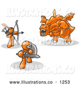 Royalty Free Stock Illustration of a Pair of Two Orange Men Working Together to Conquer an Obstacle, a Dragon by Leo Blanchette