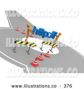 Royalty Free Stock Illustration of a Pair of Two Orange People Carrying Http Through a Construction Zone, Symbolizing a Redirect or Detour by 3poD