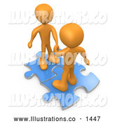 Royalty Free Stock Illustration of a Pair of Two Orange People on Blue Puzzle Pieces, Engaging in a Handshake upon a Deal, Symbolizing Link Exchange and Teamwork by 3poD