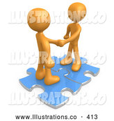 Royalty Free Stock Illustration of a Pair of Two Orange People Shaking Hands While Standing on Connected Blue Puzzle Pieces, Symbolizing Teamwork, Deals, and Link Exchanges for Seo Website Marketing by 3poD