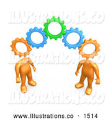 November 14th, 2013: Royalty Free Stock Illustration of a Pair of Two Orange People with Cog Heads, Standing on the Ends of Working Gears, Symbolizing Teamwork and Brainstorming by 3poD