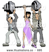 Royalty Free Stock Illustration of a Pair of Two Struggling Businessmen Holding up Weights on a Barbell While a Woman Grasps the Bar by Leo Blanchette