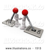 Royalty Free Stock Illustration of a Pair of Two White Lever Switch Head Men Turned on to YES, Shaking Hands on a Deal by 3poD