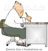 Royalty Free Stock Illustration of a Paper Pusher Businessman Working at a Desk by Djart