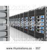 Royalty Free Stock Illustration of a Path Between Walls of Computer Server Towers on White by 3poD