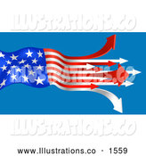 Royalty Free Stock Illustration of a Patriotic American Flag with the Red and White Stripes Turning to Arrows, Pointing out on a Blue Background by AtStockIllustration