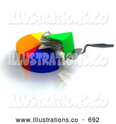 Royalty Free Stock Illustration of a Pie Chart with a Slice Being Lifted Up, Showing Money Filling by Leo Blanchette
