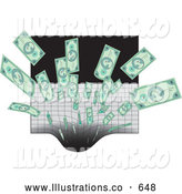 Royalty Free Stock Illustration of a Pile of Cash Being Sucked into a Black Hole by Rasmussen Images