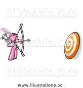 Royalty Free Stock Illustration of a Pink Archer Aiming at a Target by Leo Blanchette