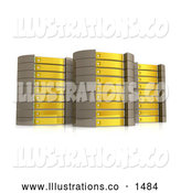 November 13th, 2013: Royalty Free Stock Illustration of a Powerful Set of Three Yellow Server Towers Hosting Services to Customers by 3poD