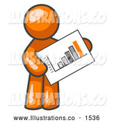 Royalty Free Stock Illustration of a Productive Orange Man Holding a Bar Graph Displaying an Increase in Profit by Leo Blanchette