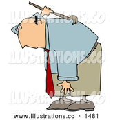 Royalty Free Stock Illustration of a Professional Bald White Businessman Bending over and Scratching an Itch on His Back with a Back Scratcher by Djart