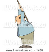 Royalty Free Stock Illustration of a Professional Bald White Businessman Scratching an Itch on His Back with a Garden Rake by Djart