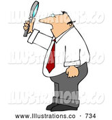 Royalty Free Stock Illustration of a Professional Balding Caucasian Businessman Holding up and Looking Through a Magnifying Glass by Djart