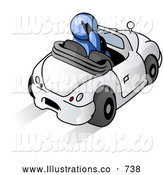 Royalty Free Stock Illustration of a Professional Blue Businessman Talking on a Cell Phone While Driving in a White Convertible Car by Leo Blanchette