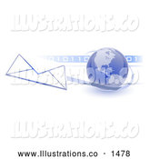 Royalty Free Stock Illustration of a Professional Blue Globe with Shaded American Continents Against a Numeric Binary Code Bar and a Speeding Envelope Passing By, Symbolizing Email and Internet Communications by Leo Blanchette