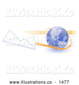 Royalty Free Stock Illustration of a Professional Blue Globe with Shaded American Continents Against a Numeric Binary Code Bar and a Speeding Envelope Passing by with an Orange Trail, Symbolizing Email and Internet Communications by Leo Blanchette
