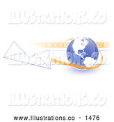 Royalty Free Stock Illustration of a Professional Blue Globe with White American Continents Against a Numeric Binary Code Bar and a Speeding Envelope Passing By, Symbolizing Email and Internet Communications by Leo Blanchette