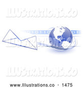 Royalty Free Stock Illustration of a Professional Blue Globe with White American Continents Against a Numeric Binary Code Bar and a Speeding Envelope Passing by with a Blue Trail, Symbolizing Email and Internet Communications by Leo Blanchette