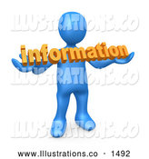 Royalty Free Stock Illustration of a Professional Blue Person Carrying Orange Text Reading Information by 3poD