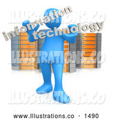 "November 13th, 2013: Royalty Free Stock Illustration of a Professional Blue Person Holding Words Reading ""Information Technology"" and Standing in Front of Orange and Silver Server Racks by 3poD"