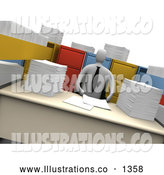 Royalty Free Stock Illustration of a Professional Businesman with Stacks of Paperwork and Open File Cabinet Drawers by 3poD