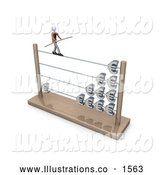 Royalty Free Stock Illustration of a Professional Businessman Carrying a Beam and Balancing on an Abacus with Increasing Profits by 3poD