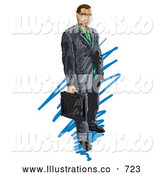 Royalty Free Stock Illustration of a Professional Businessman Holding a Briefcase by AtStockIllustration