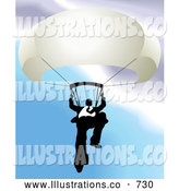 Royalty Free Stock Illustration of a Professional Businessman Holding on to a Parachute by AtStockIllustration